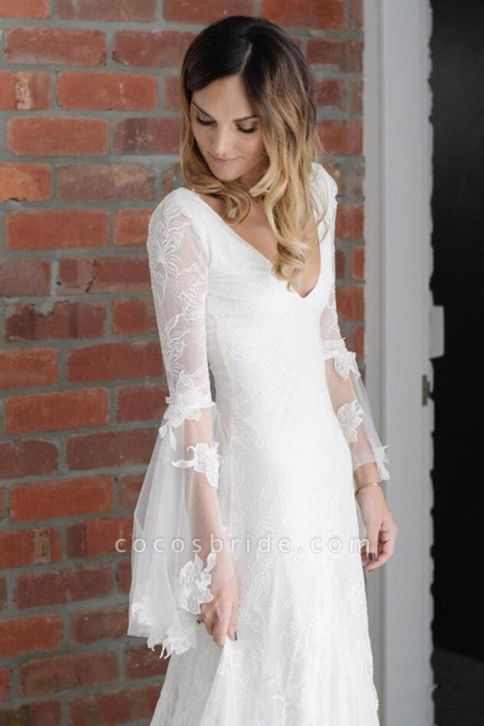 Boho V Neck Beach with Long Sleeves Unique Lace Wedding Dress