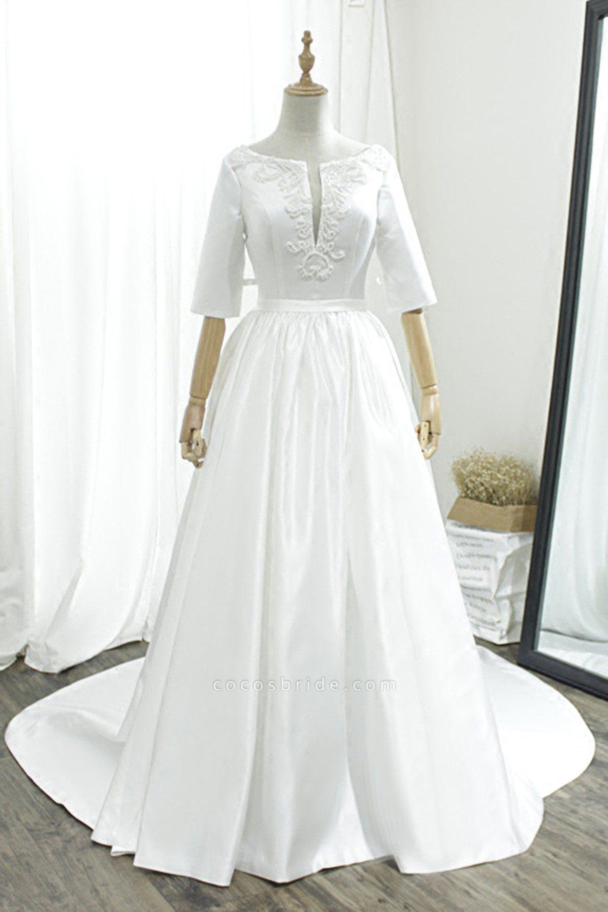 White Satin V Neck Sweep Train Pearl Wedding Dress