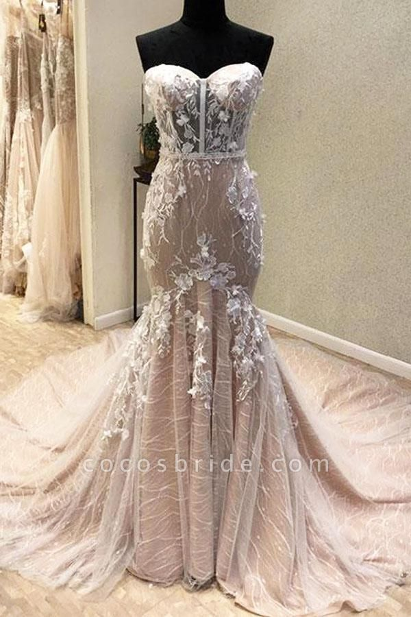 Gorgeous Sweetheart Mermaid Lace Appliqued Strapless Wedding Dress