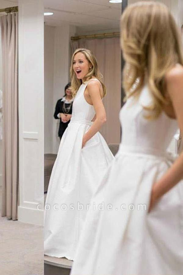 Simple A-Line Criss Cross Back Satin with Pockets Cheap Wedding Dress