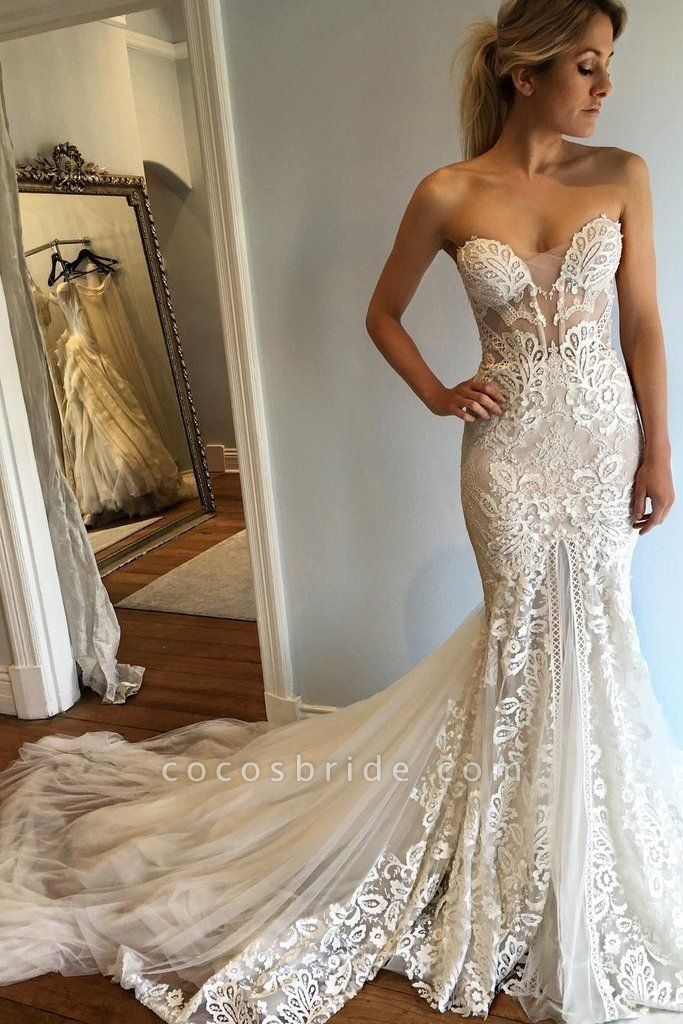 Strapless Mermaid Court Train Sweetheart Wedding Dresses