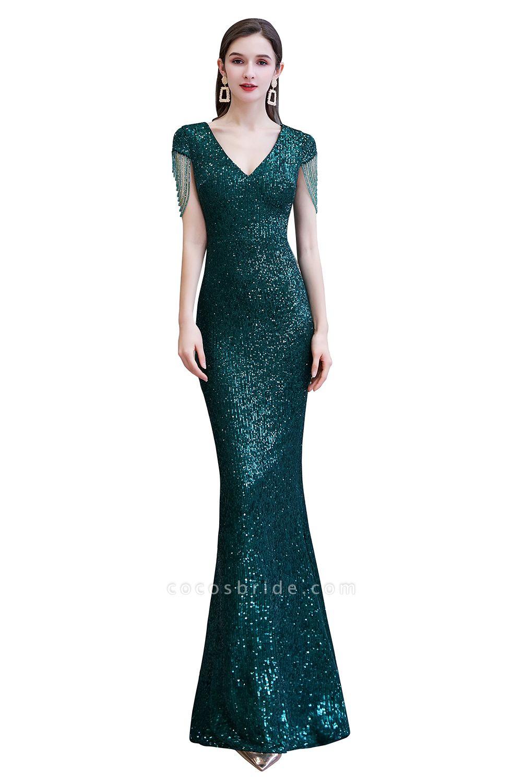 Elegant Cap Sleeve Green Sequins Long Prom Dress