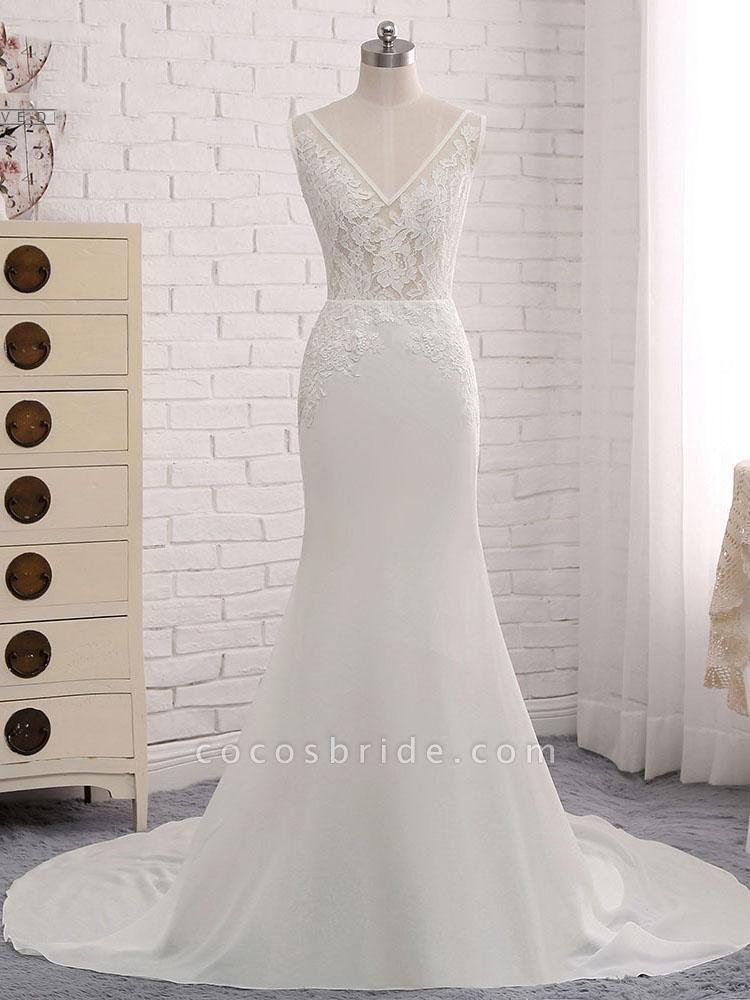 Modest V-Neck Lace Mermaid Wedding Dresses