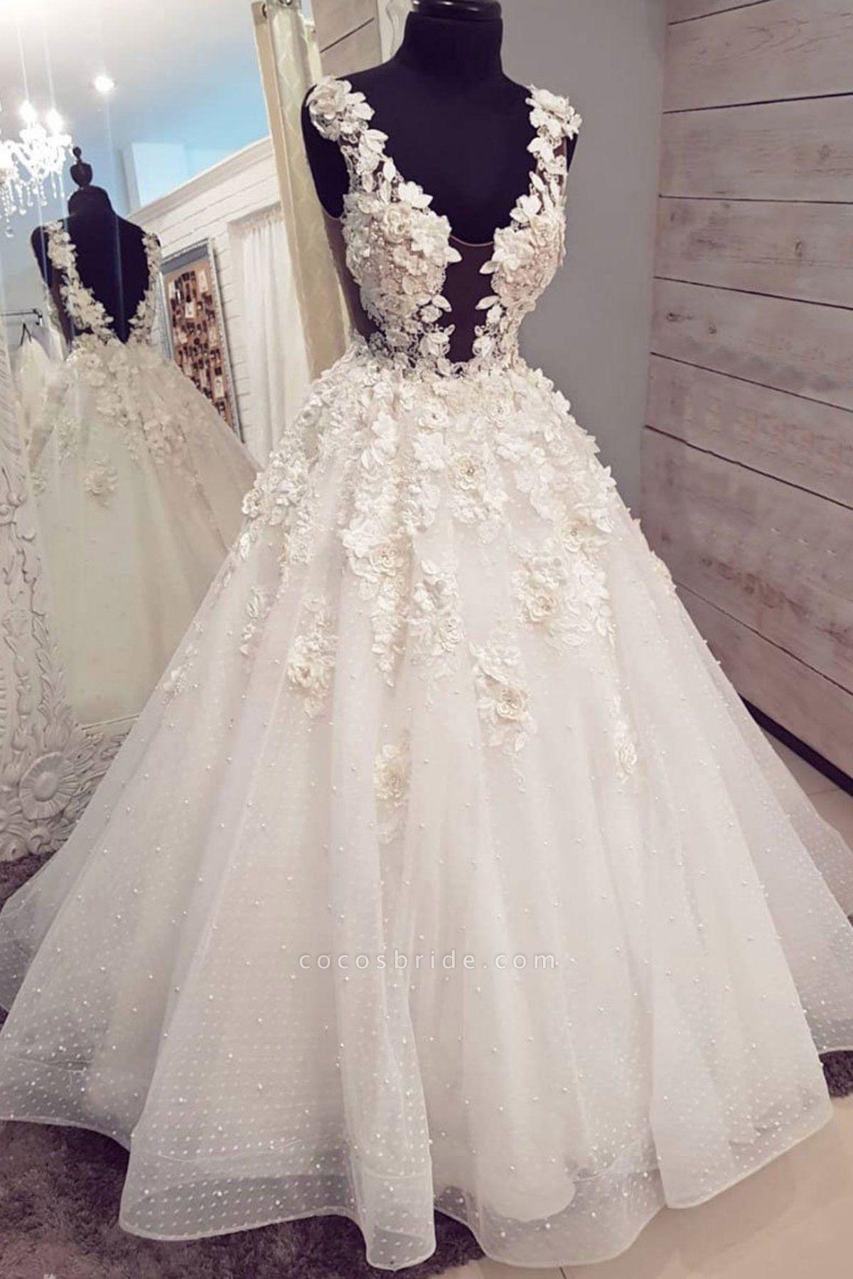 White Tule 3D Lace Applique Long Halter Pearl White Wedding Dress