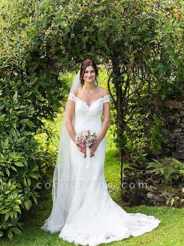 Elegant Cap Sleeves Lace Sweep Train Mermaid Wedding Dresses