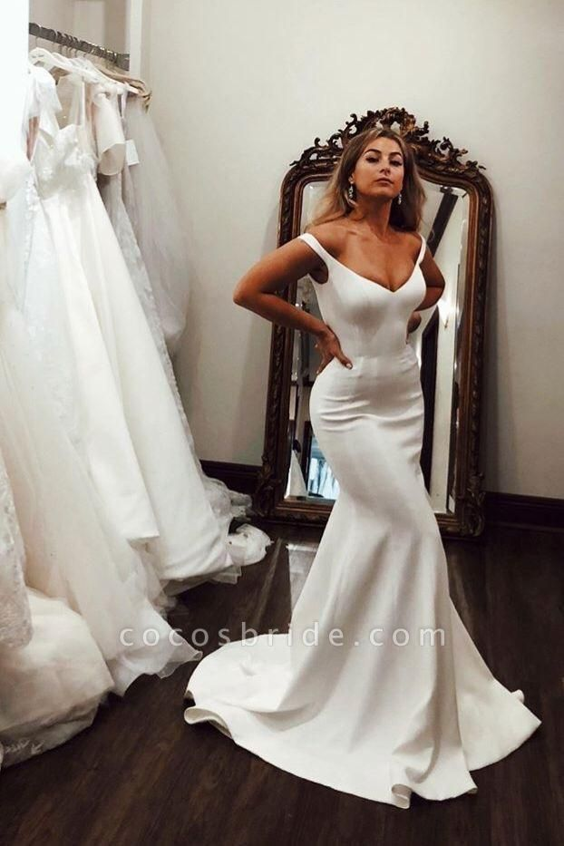 Simple Off the Shoulder Beach Elegant Long Wedding Dress