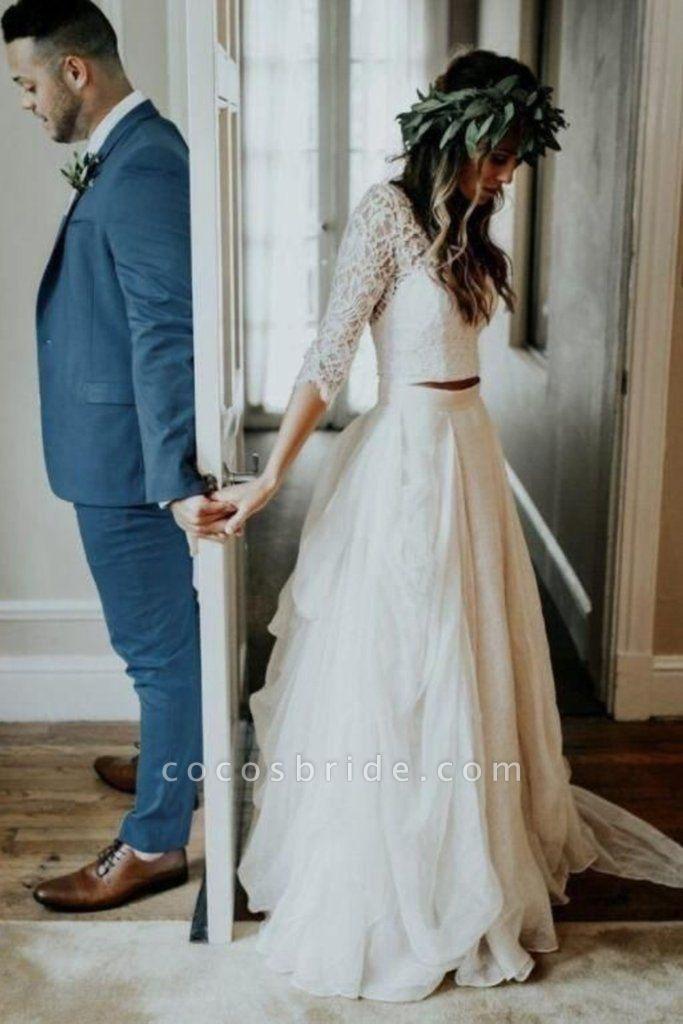 Ivory Chiffon Rustic Cheap 3/4 Sleeves Two Piece Wedding Dress