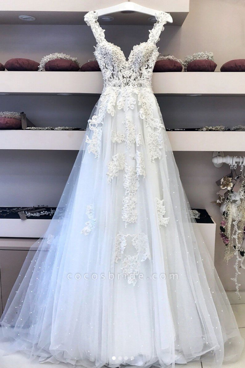 White Tulle Sweetheart Neck Long Halter Lace Wedding Dress