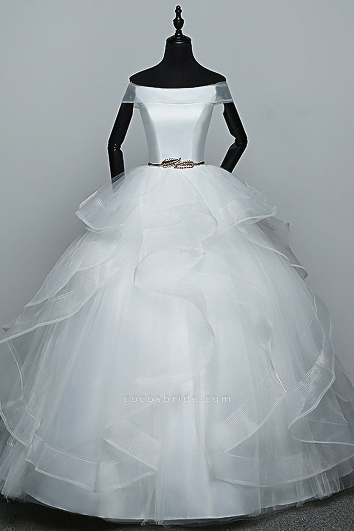White Tulle Off Shoulder Layered Wedding Dress With Belt