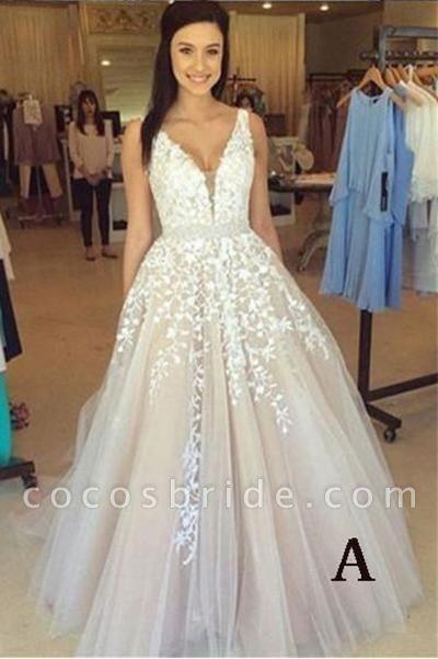 A-line V Neck Sexy Lace Appliques Long Wedding Dress