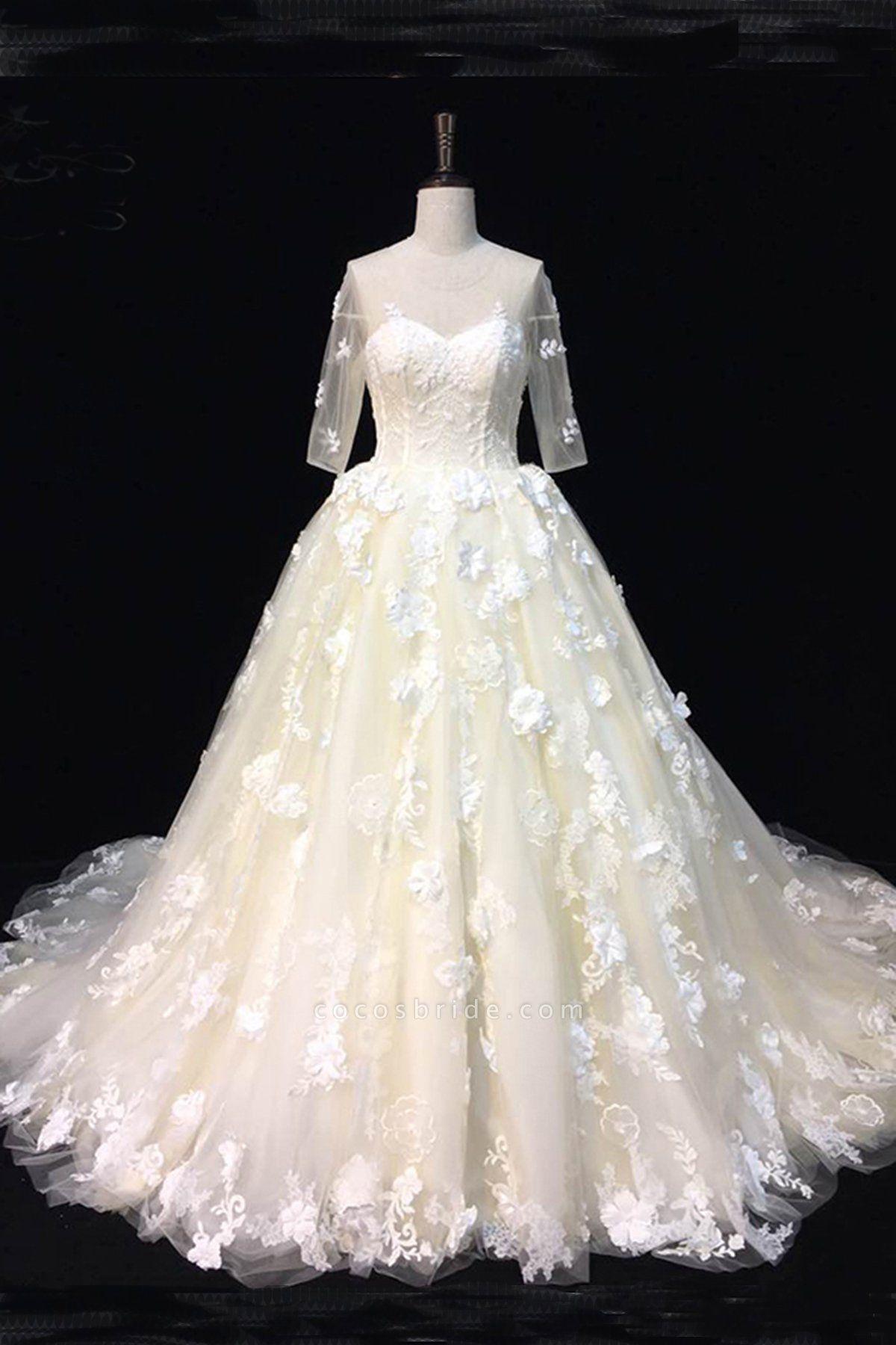 Beautiful Ivory Lace Sweep Train Mid Sleeves Wedding Dresses