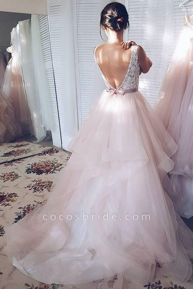 Light Pink V-neck Sleeveless Sweep Train Lace Top Tulle Wedding Dress