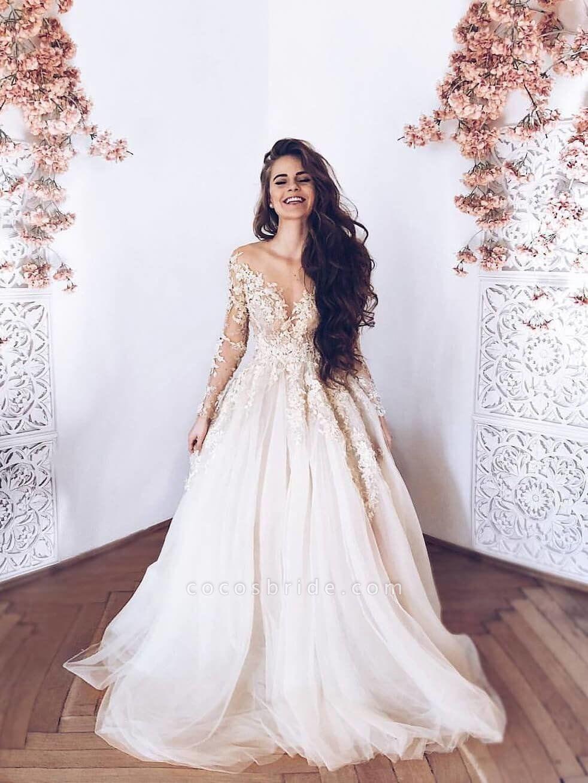 Romantic Long Sleeves Appliques Ruffles Wedding Dresses