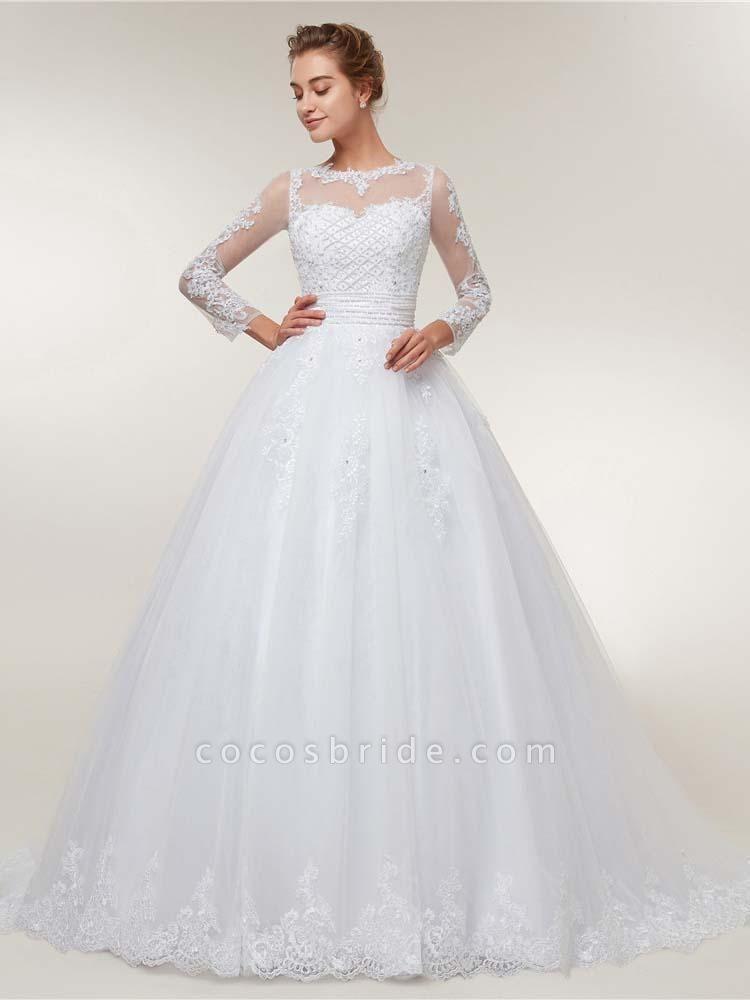 Elegant Long Sleeves Lace Detachable Train Ball Gown Wedding Dresses