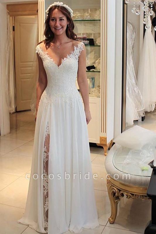 A Line Chiffon Beach Long Flowy Lace Wedding Dress