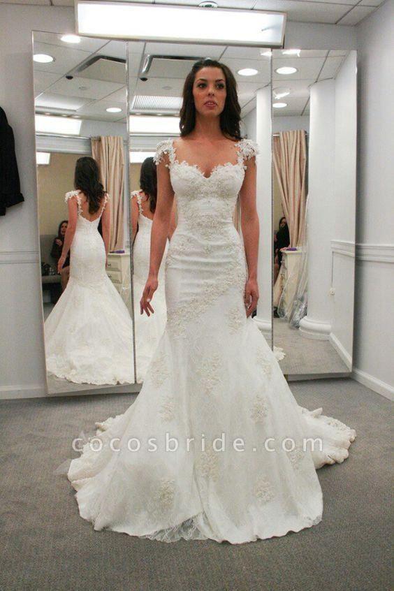 Sweetheart Cap Sleeves Backless Mermaid Gowns Beach Wedding Dress
