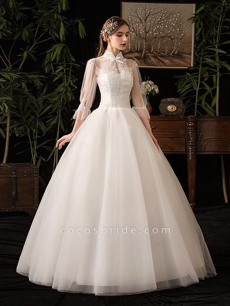 Gorgeous High Collar 3/4 Sleeve Lace-Up Ball Gown Wedding Dresses