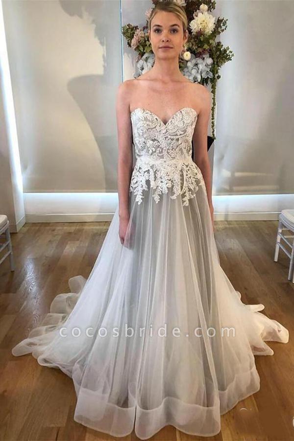 Cheap Sweetheart Neck A Line Silver Grey Long Appliqued Wedding Dress