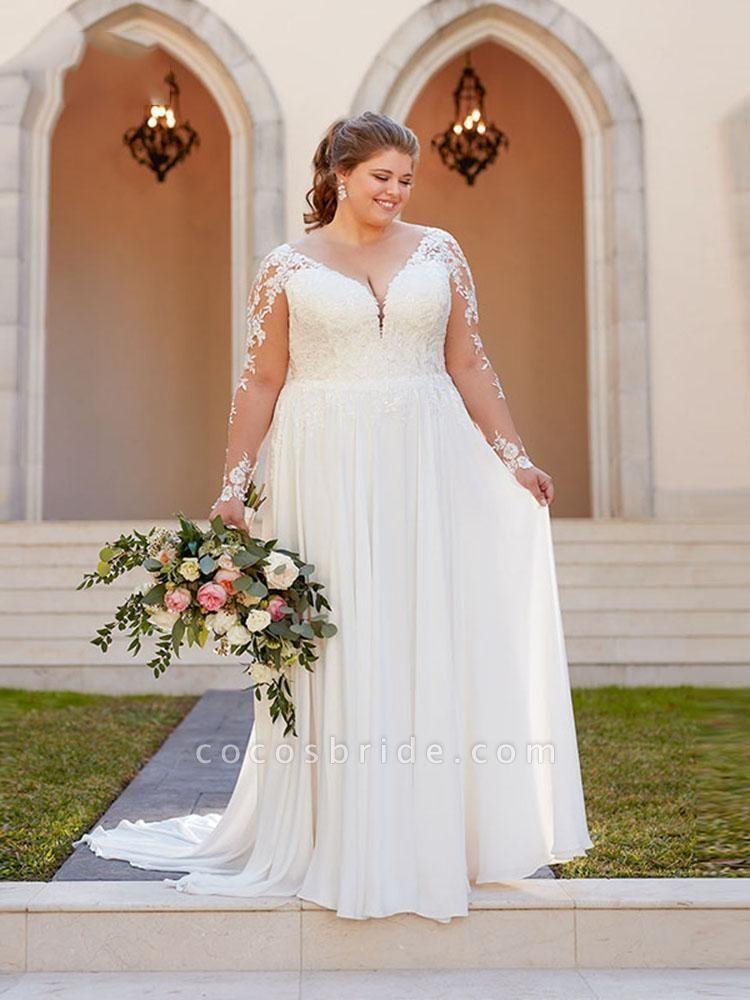 V Neck Appliques Lace Long Sleeve A Line Wedding Dresses