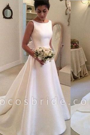 Classic Satin A Line Long Backless Wedding Dress