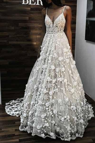 Charming V Neck Spaghetti Straps Lace Backless Long Wedding Dress