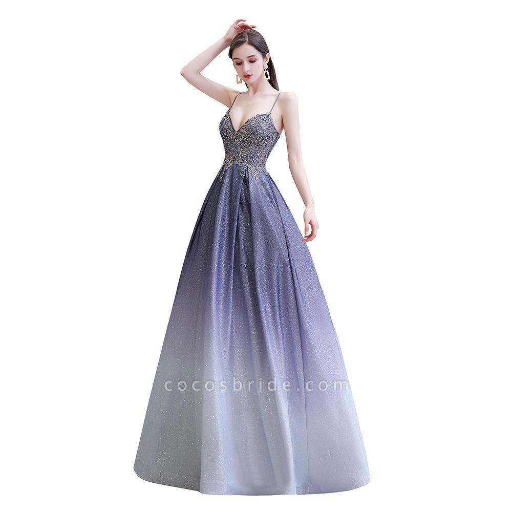 Elegant Spaghetti Straps Appliques Beads Ombre Prom Dress
