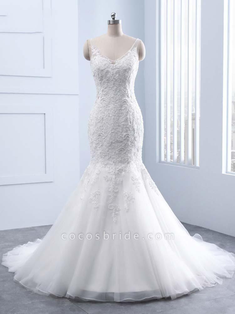 Elegant V-neck Lace Mermaid Wedding Dresses