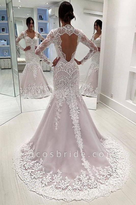 Vintage Sleeves Mermaid Long Open Back Wedding Dress