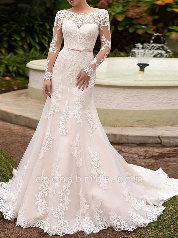 Elegant Long Sleeve Lace-Up Mermaid Wedding Dresses