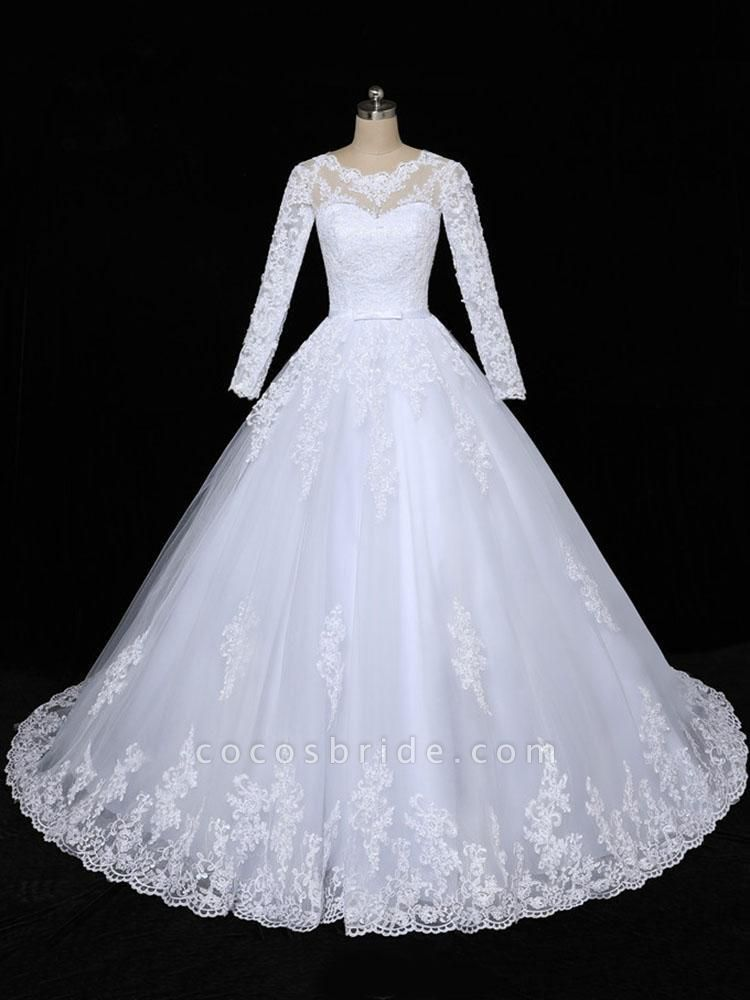 Glamorous Long Sleeves Lace Applique Tulle Wedding Dresses