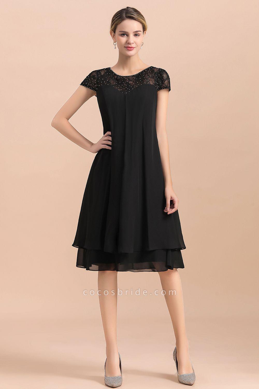 Chiffon Black Cap Sleeve Short Mother of Bride Dress