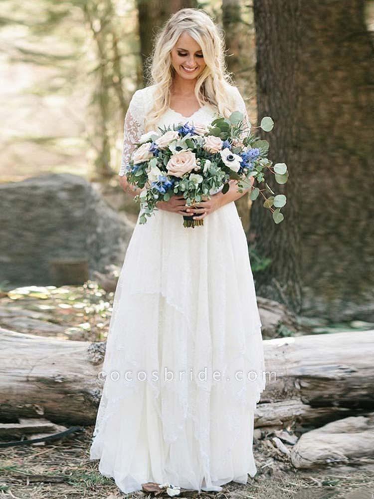 Elegant Half Sleeves V-neck Lace Boho Wedding Dress