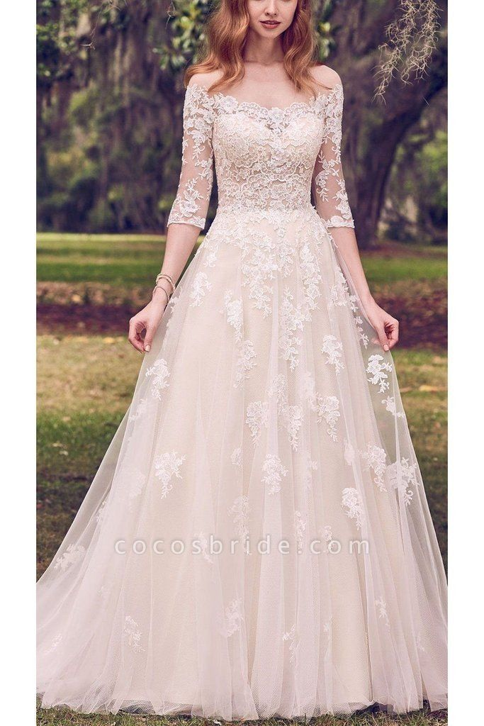 Vintage Off the Shoulder Tulle with Lace Appliqued Long Train Wedding Dress