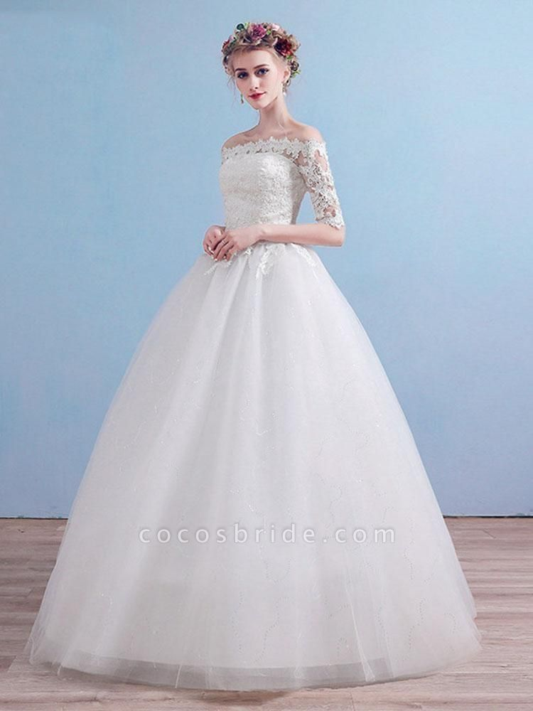 Elegant Off-the-Shoulder Long Sleeves Lace Ball Gown Wedding Dresses