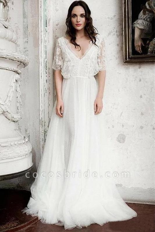 Boho Floor Length V Neck Long Rustic Gown Wedding Dress