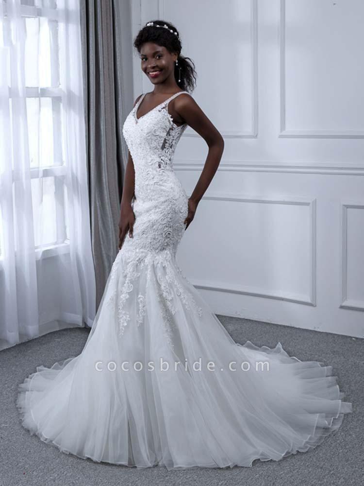 Elegant V-Neck Lace Tulle Mermaid Wedding Dresses