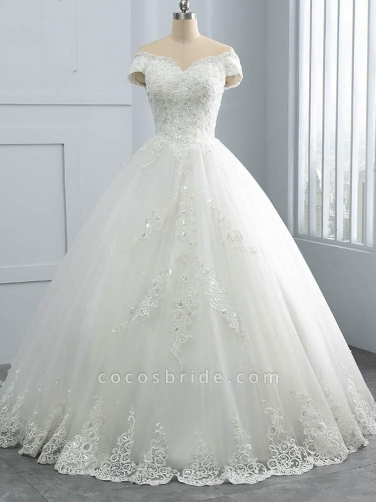 Off-the-Shoulder Lace Sequins Ball Gown Wedding Dresses