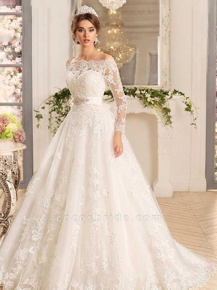 Off-the-Shoulder Tulle Ruffles Wedding Dresses
