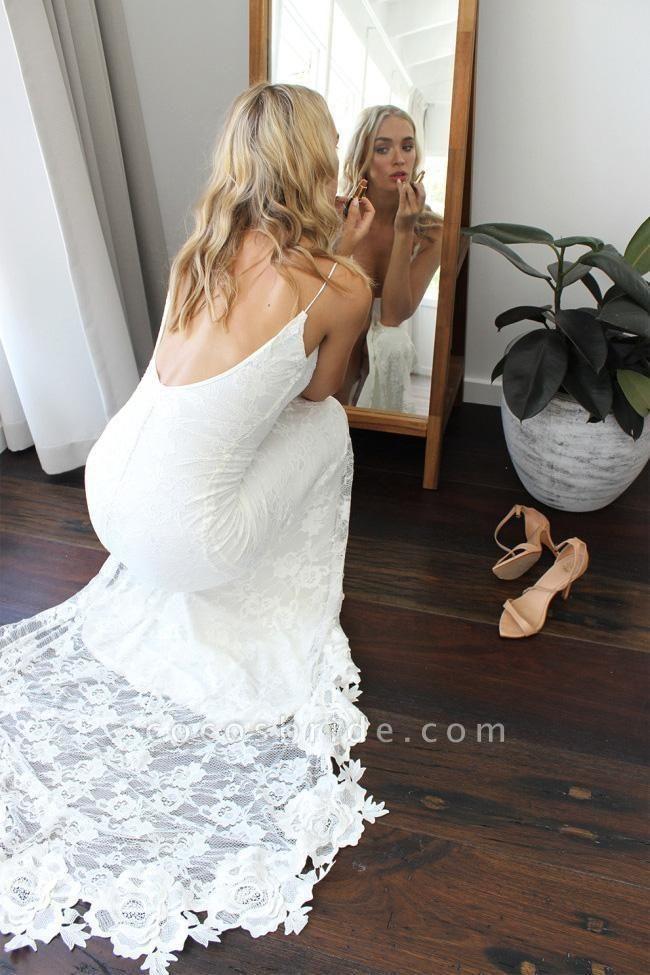 Romantic Boho Deep U Neck Backless Lace Mermaid Wedding Dress