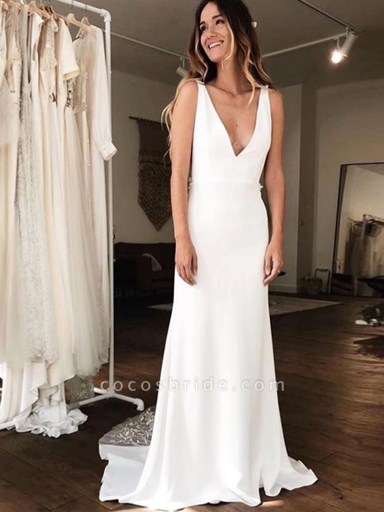 Gorgeous V-neck Lace Backless Mermaid  Wedding Dresses