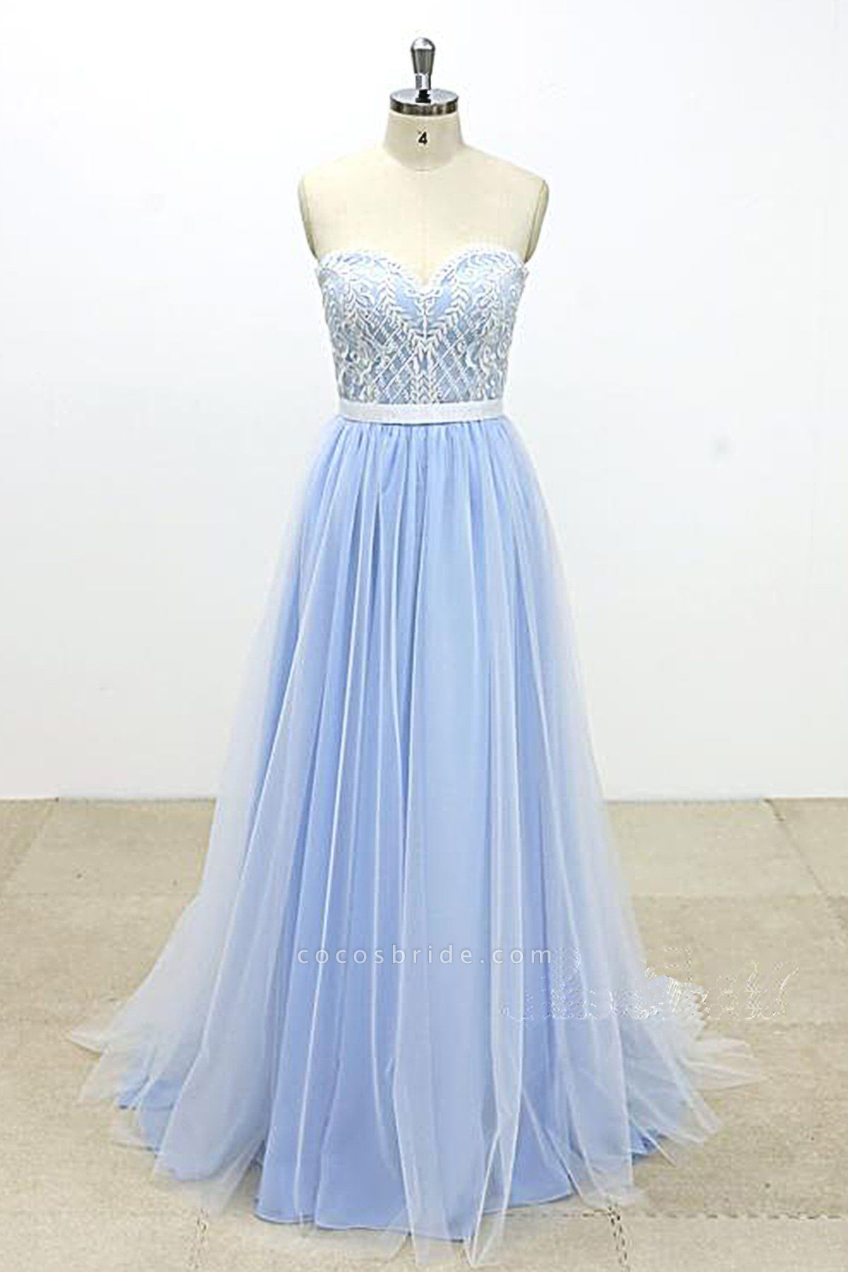 Aqua Blue And Ivory Tulle Strapless Long Lace Wedding Dress
