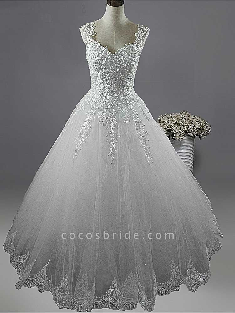 Pearls A-Line Tulle Wedding Dresses