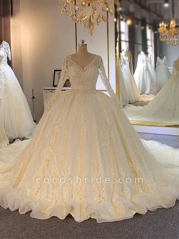 Shinny Long Sleeves Lace-Up Wedding Dresses with Full Beading Shinny