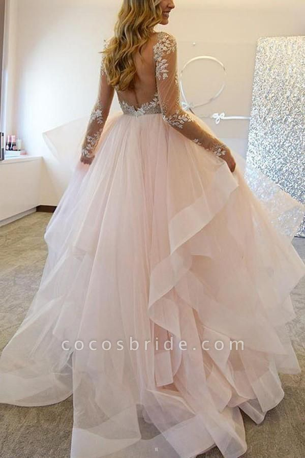 A-Line Long Sleeves Tulle Sheer Neck With Appliques Sexy Wedding Dress