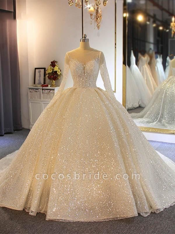 Sparkling Shinny Lone Sleeves Lace- Up Ball Gown Wedding Dresses
