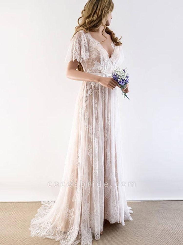 Gorgeous V-Neck Cap Sleeves Lace Wedding Dresses
