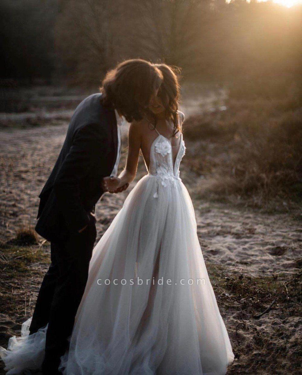 Beach Bohemian Wedding Dresses Spaghetti Backless Lace Tulle Wedding Dresses