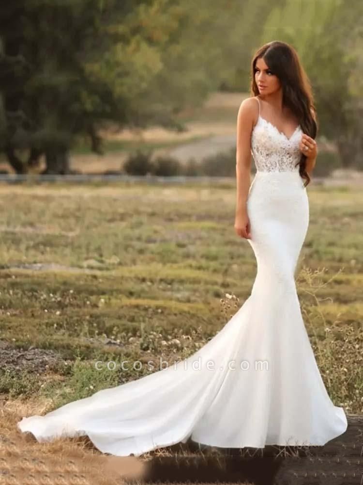 Spaghetti-Strap V-Neck Mermaid Wedding Dresses
