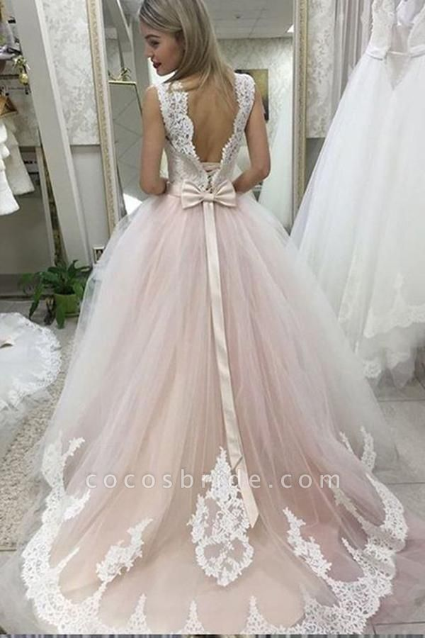 Pale Pink Court Train with Lace Appliques Sleeveless Wedding Dress