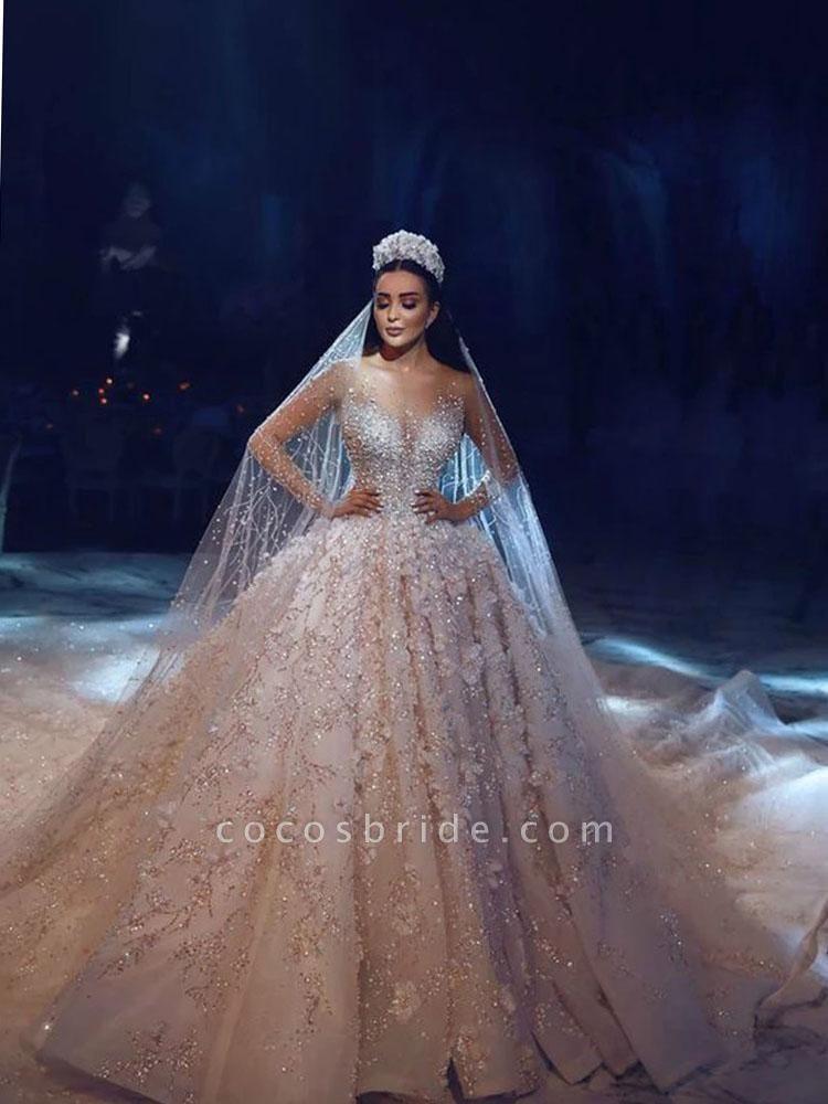 Luxury Long Sleeve V Neck Royal Ball Gown Wedding Dresses